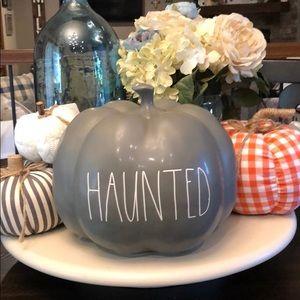 🆕 Rae Dunn HAUNTED Gray Pumpkin